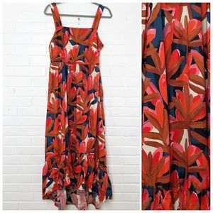 Who What Wear Maxi Dress Red Floral Medium